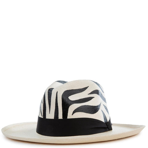 Animal Print Zebra Panama Hat