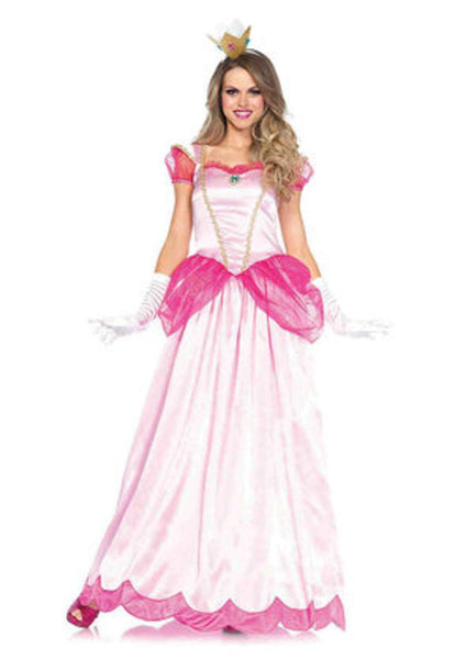 2PC.Classic Pink Princess,long satin gown and crown headband in PINK