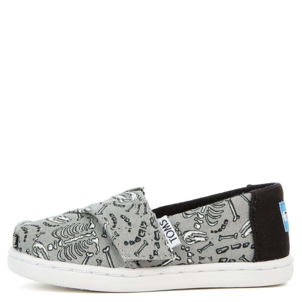 Tiny Toms Classic Dinosaur Bones Glow in the Dark Drizzle Grey Flats