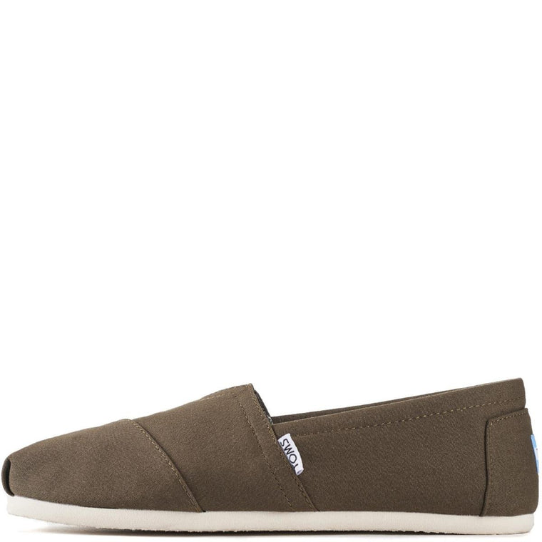 Toms for Men: Classic Military Olive Canvas Flats