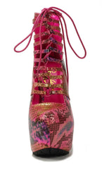 Privileged Shoes by J.C. Dossier: Denmark Multi Fushia Snake High Heels