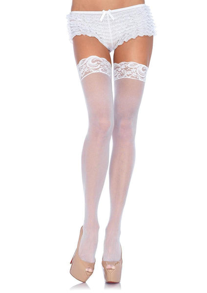 Plus Size Nylon Sheer Thi-Hi W/Lace Top PLUS SI WHITE