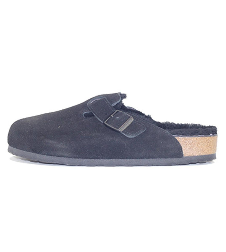 Birkenstock for Men: Boston Fur Suede Black Sandal