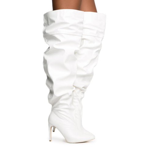 Cape Robbin Kitana-2 Women's White Thigh High Boot