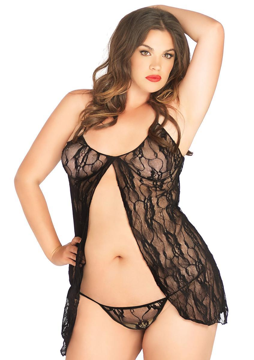 2 Pc. Romantic  Lace Babydoll W/ Matching G String in BLACK