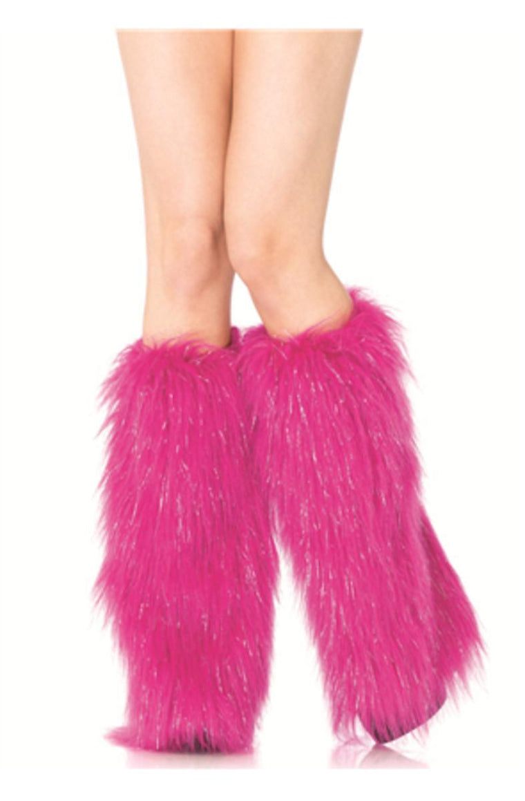 FURRY LUREX LEG WARMERS in PINK/SILVER