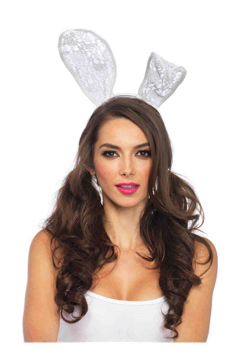 Lace bunny ears headband in WHITE
