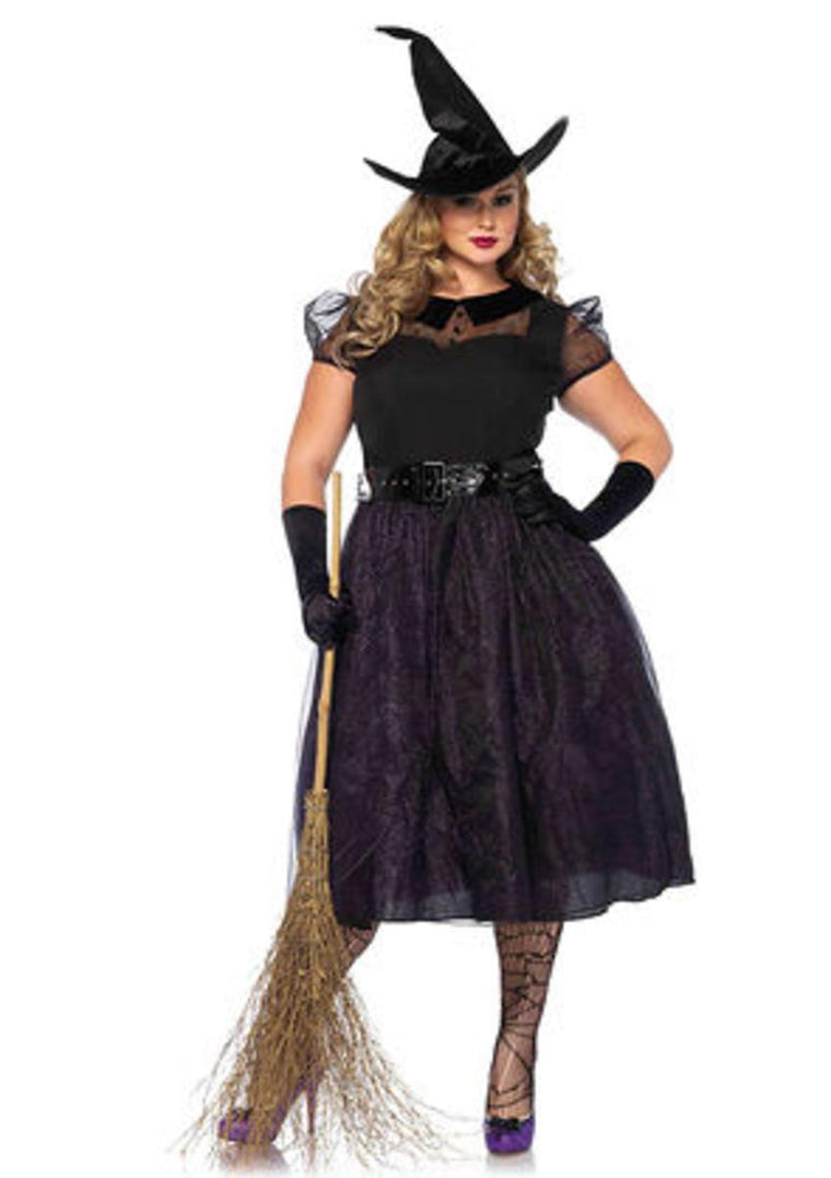 3PC.Darling Spellcaster,tea length glitter dress,belt,hat in BLACK