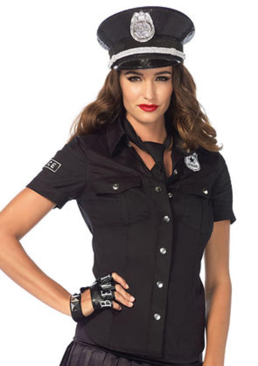 2 PC.Police shirt with badge accents and tie in BLACK