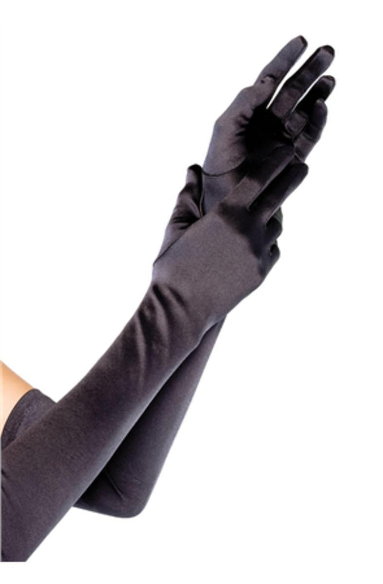 Extra Long Satin Gloves in BLACK