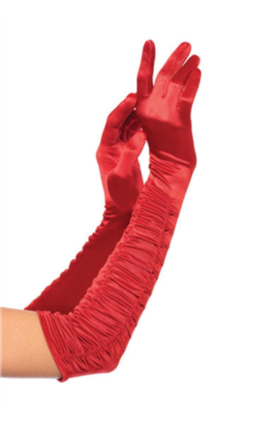 Opera length ruched satin gloves in RED