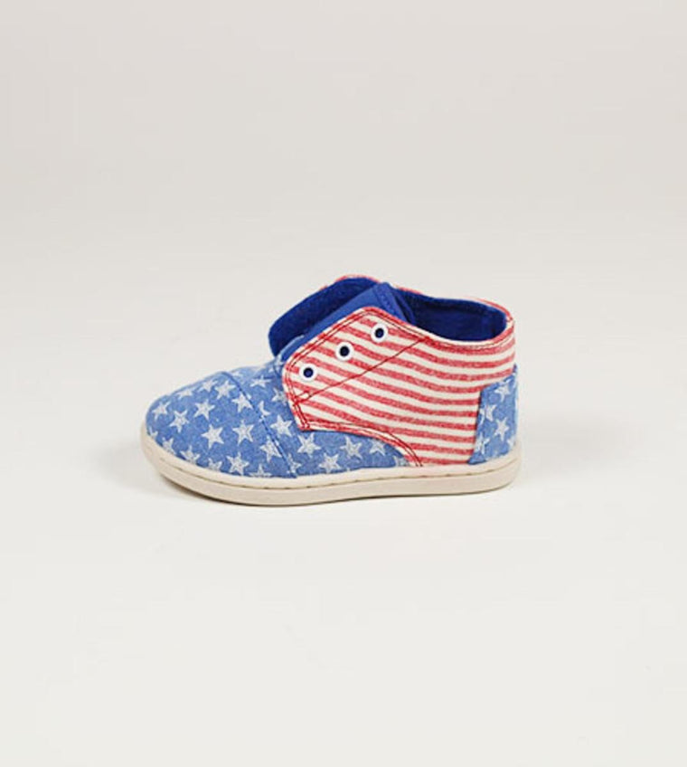 Tiny Toms Paseo Mid Blue Canvas Stars and Stripes