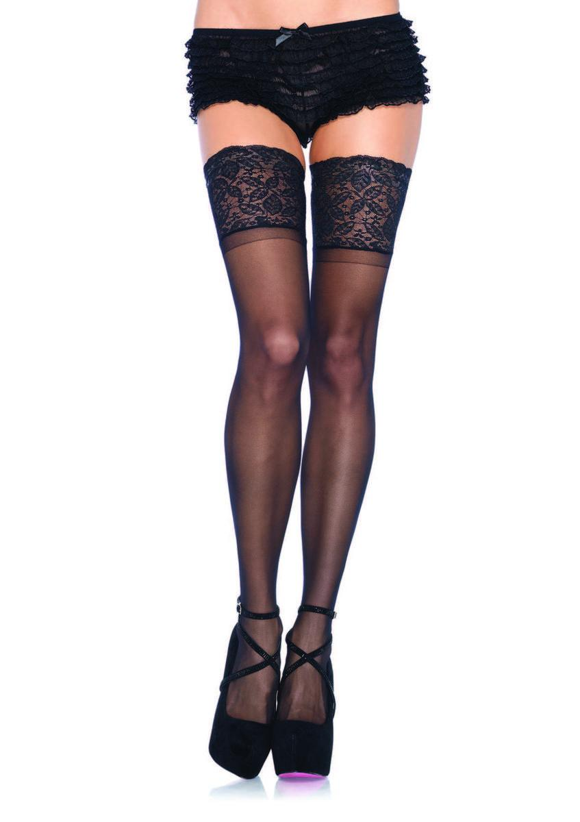 5 in Lace Lycra Sheer Stay Up Thigh Hi PLUS SIZE BLACK