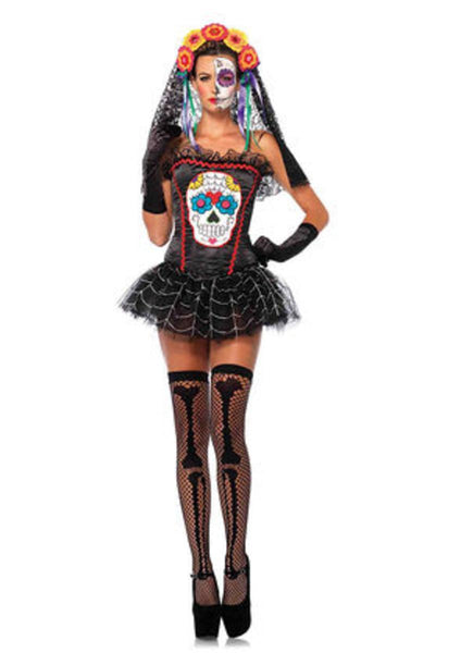 Sugar skull bustier in BLACK