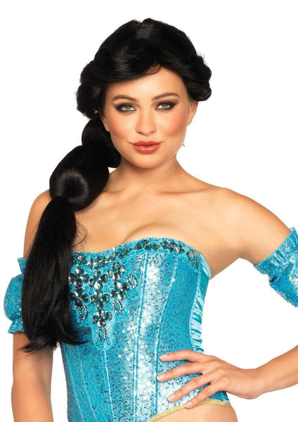 Jasmine wig with ribbon detail in BLACK