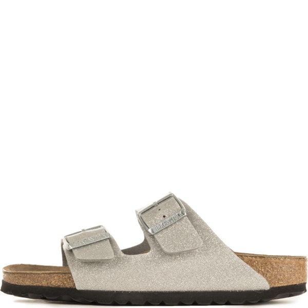 Birkenstock for Women: Narrow Arizona Soft Footbed Galaxy Silver Sandals