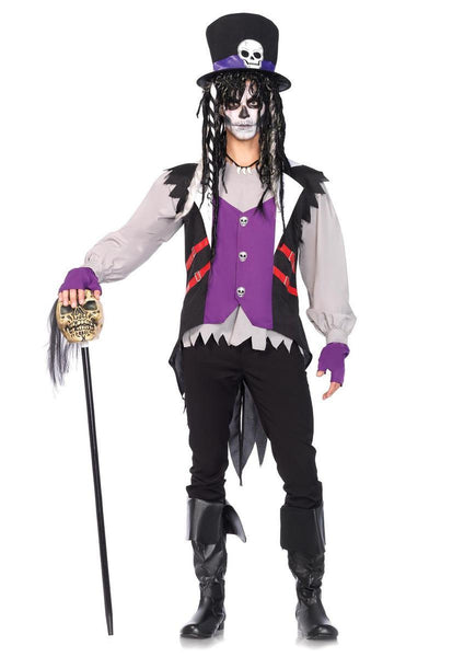 5PC.Voodoo Priest,jacket, shirt/vest combo,necklace,gloves,top hat in MULTICOLOR