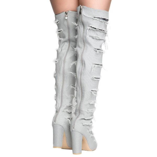 Cape Robbin Beautiful-8 Women's Ripped Gray Heeled Thigh High Boots