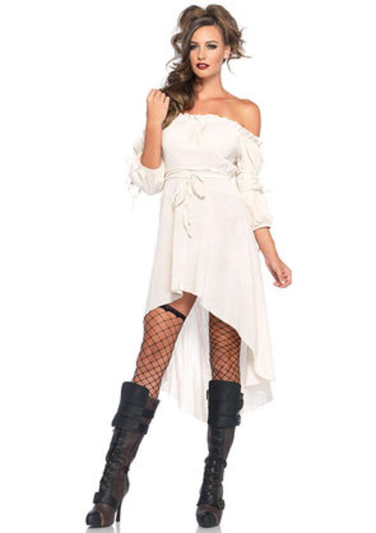 Gauze high low peasant dress with tie up waist and sleeves in IVORY