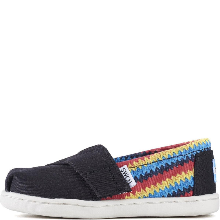 Tiny Toms: Classic Black Raffia Print On Canvas Flats