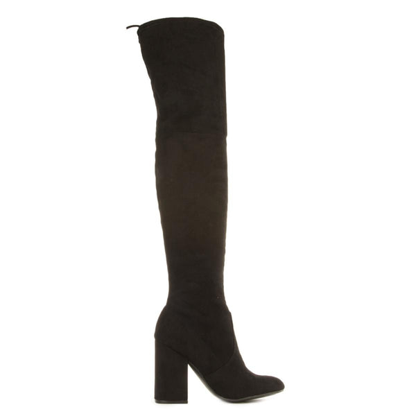 Steve Madden for Women: Norri Black Thigh High Heeled Boots