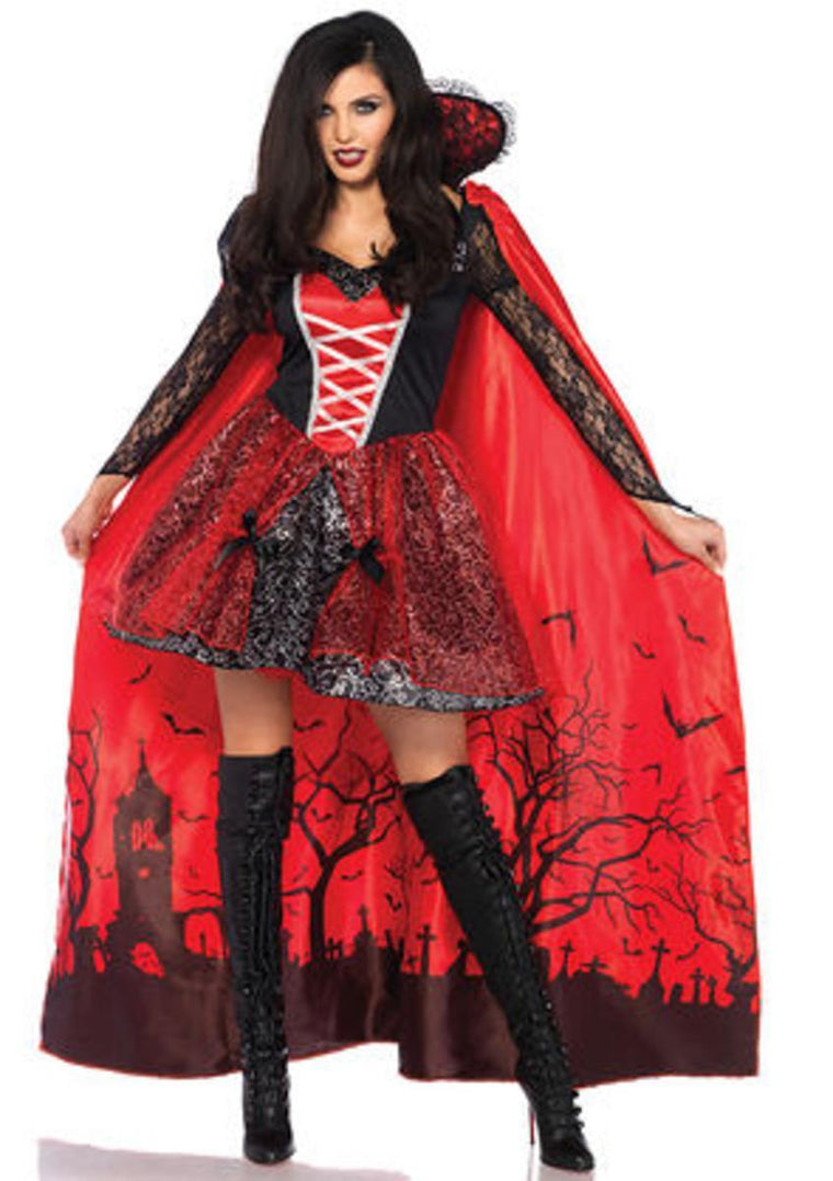 2PC.Vampire Temptress,dress and detachable cemetery scene cap in BLACK/RED