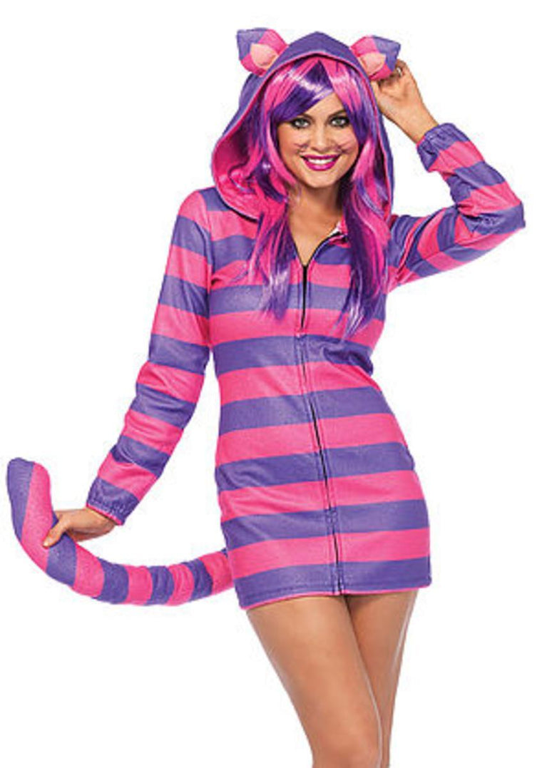 The Cozy Cheshire Cat, Fleece Dress w/Cat Ear Hood and Long Tail in Pink and Purple