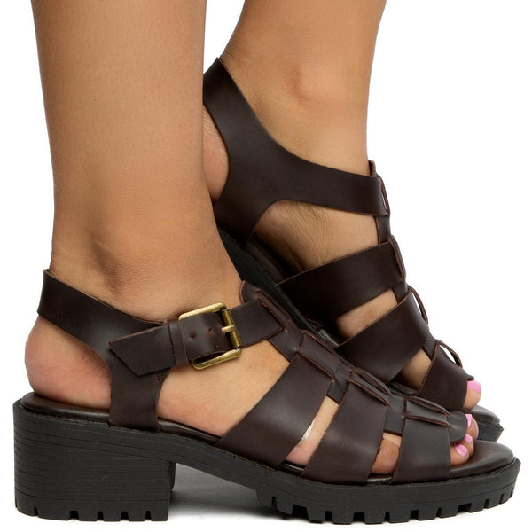 Arrow Brown Leather Sandals