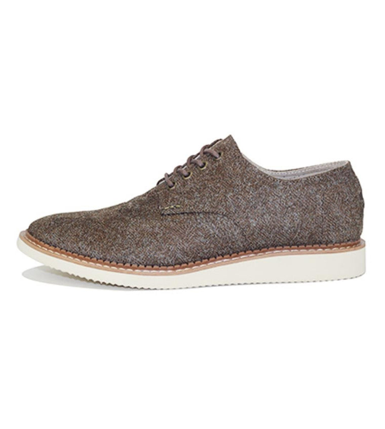 Toms for Men: Brogue Dark Earth Herringbone Oxford