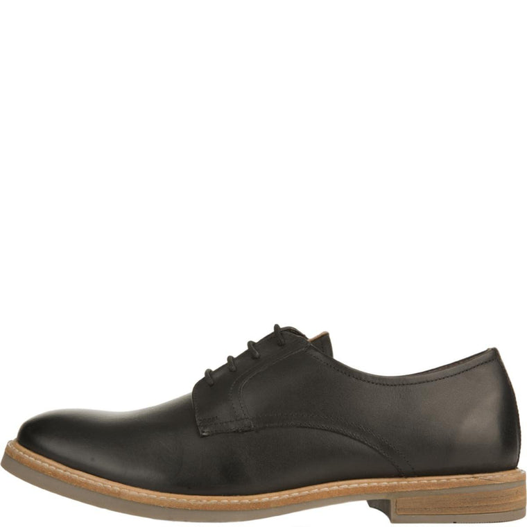 Ben Sherman for Men: Birk Plain Toe Black Leather Oxfords