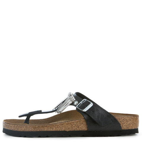 Birkenstock Gizeh Women's Graceful Licorice Fringe Sandals