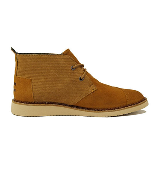 Toms for Men: Mateo Chukka Chestnut Brown Embossed Suede Boots