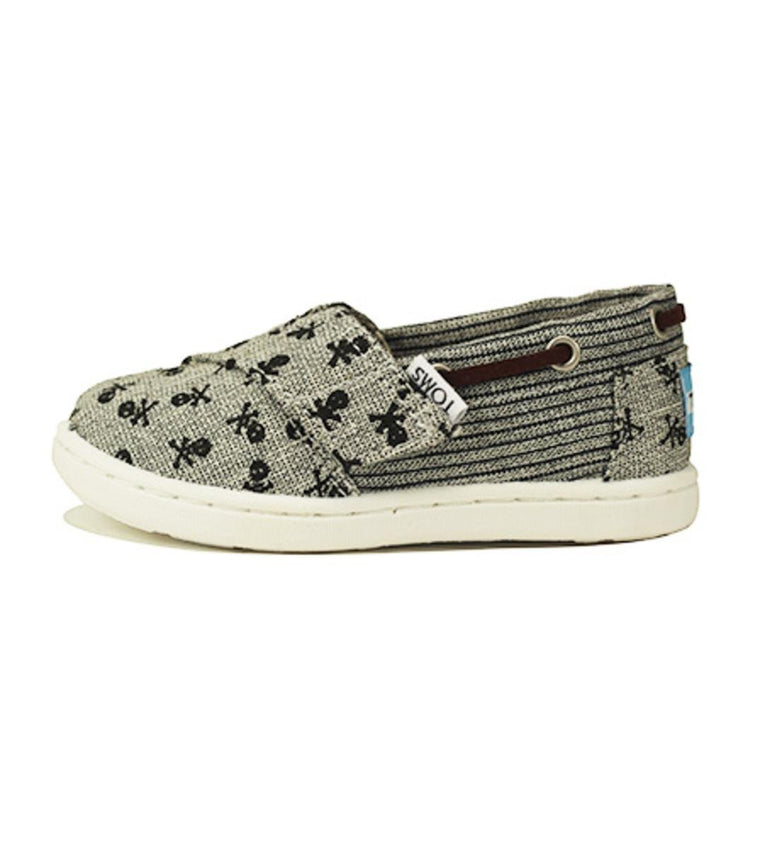 Tiny Toms: Bimini Gray Chambray Skulls
