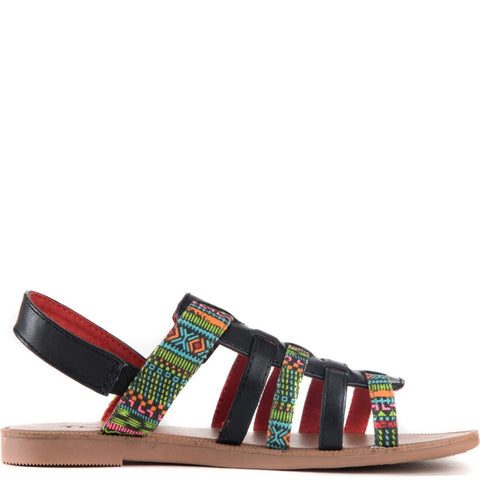 Toms for Kids: Huarache Black Textile Tribal Geo Sandals