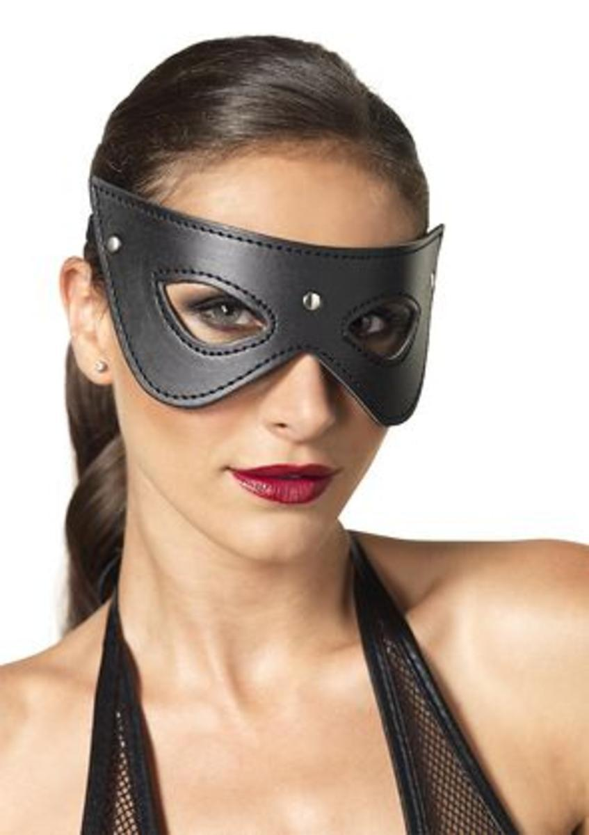 Faux leather studded fantasy eye mask in BLACK