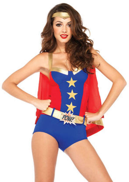 4PC.Comic Book Girl,super hero romper ,belt,cape,headband in BLUE/RED