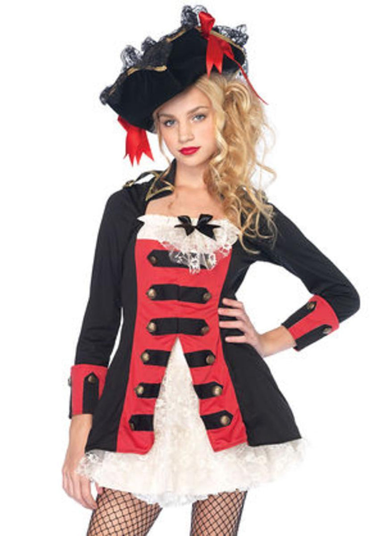 Pretty Pirate Captain,waistcoat dress w/lace under skirt in BLACK/RED