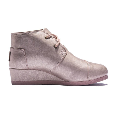Toms for Kids: Desert Wedge Blush Metallic Synthetic Leather Boot