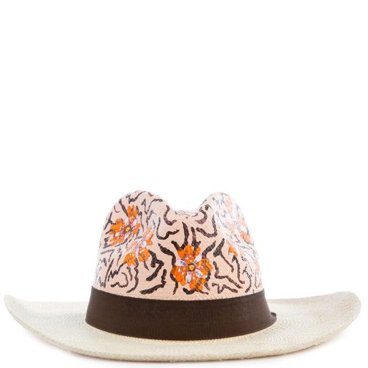 Animal Print Orange Panama Hat