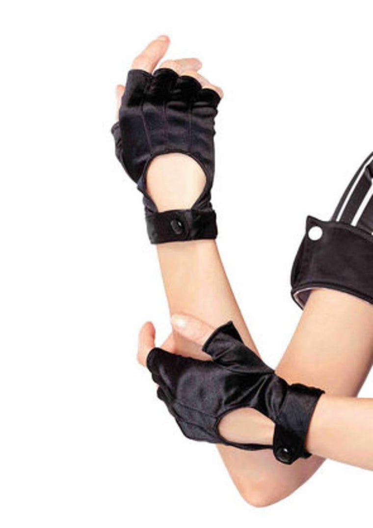 Fingerless motercycle glove in BLACK