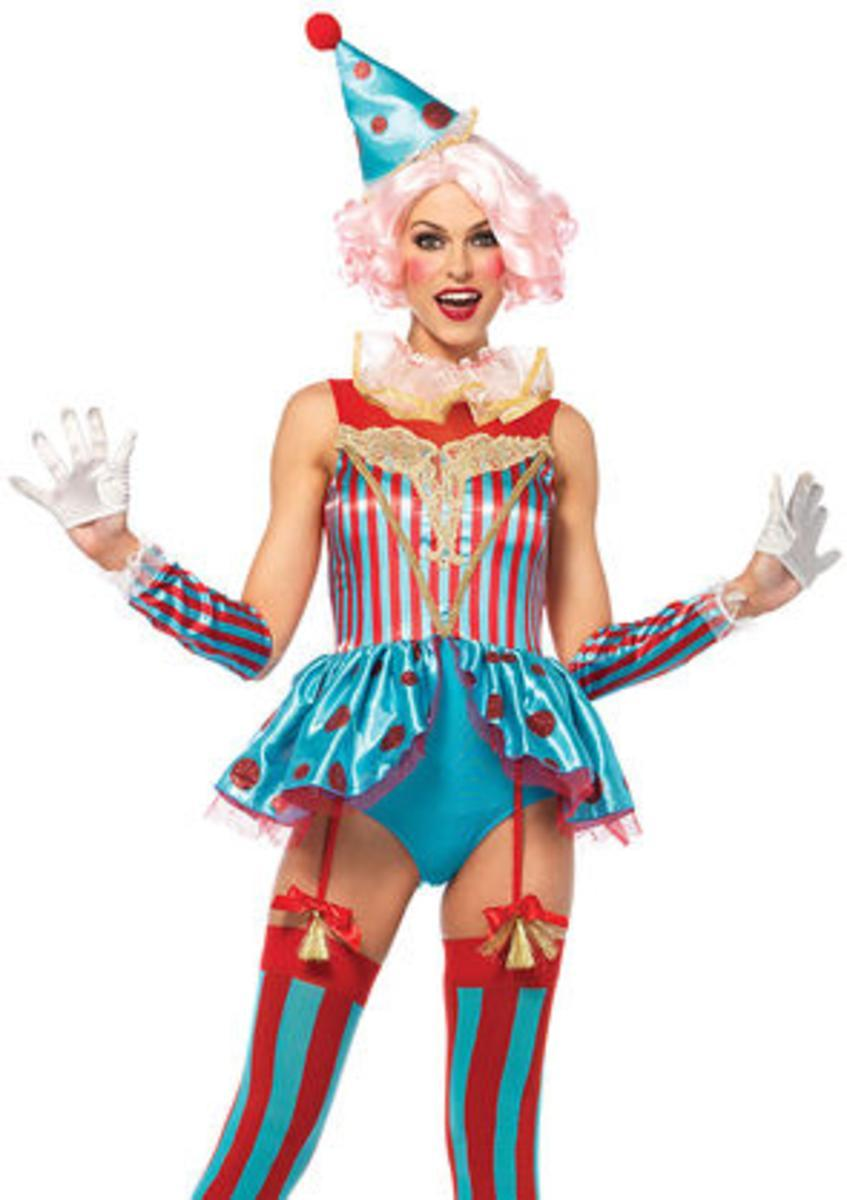 4PC.Delightful Circus Clown,garter teddy,neck piece,arm cuffs,clown hat in MULTICOLOR