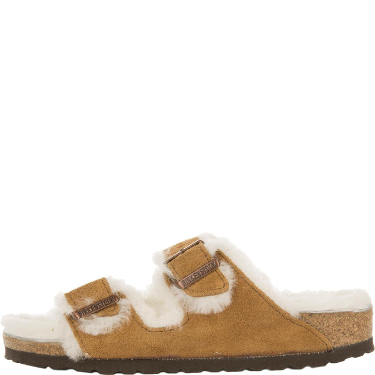 Birkenstock for Women: Arizona Mink Shearling Suede Sandals