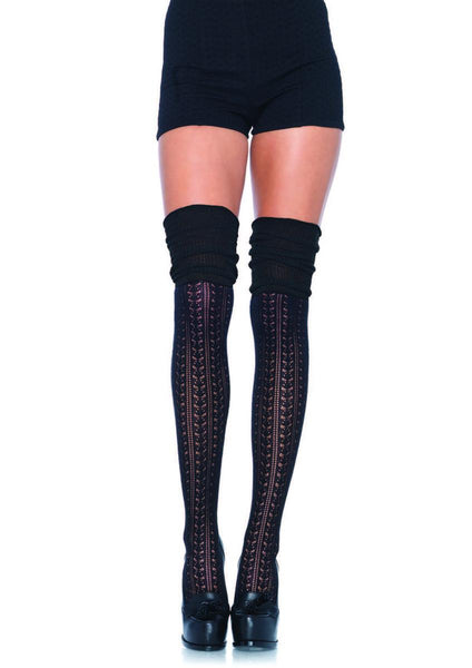 Acrylic pointelle over the knee scrunch sock in BLACK