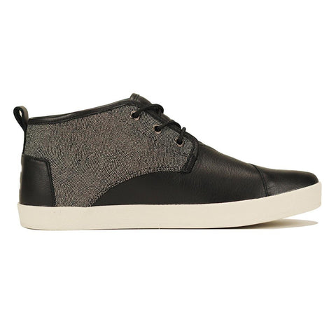 Toms for Men: Paseo Mid Black White Caviar Leather Sneaker