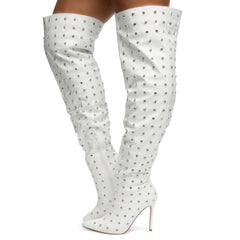 Muccia-1 All-Over Rhinestone Thigh High Boots