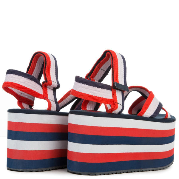 YRU Prizm Red White Blue Women's Platform Sandal