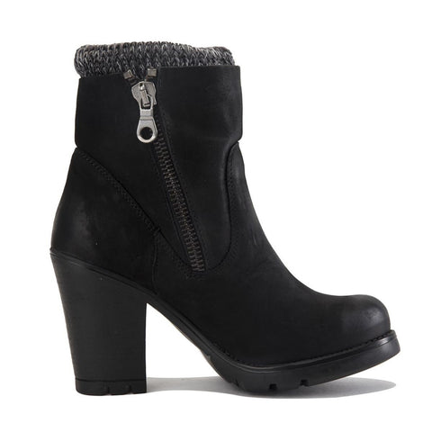 Steve Madden for Women: Sweaterr Black Leather Heel Boots
