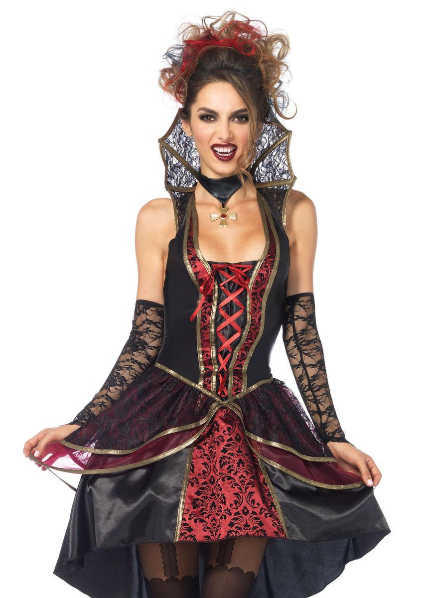3PC.Vampire Queen,high/low dress,lace gauntlet,choker SMALL BLACK/BURGUNDY