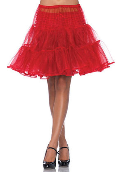 Shimmer organza knee length petticoat skirt in RED