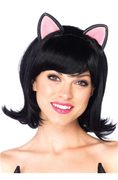 Kitty Kat bob wig with attached ears w/adjustable elastic strap in BLACK